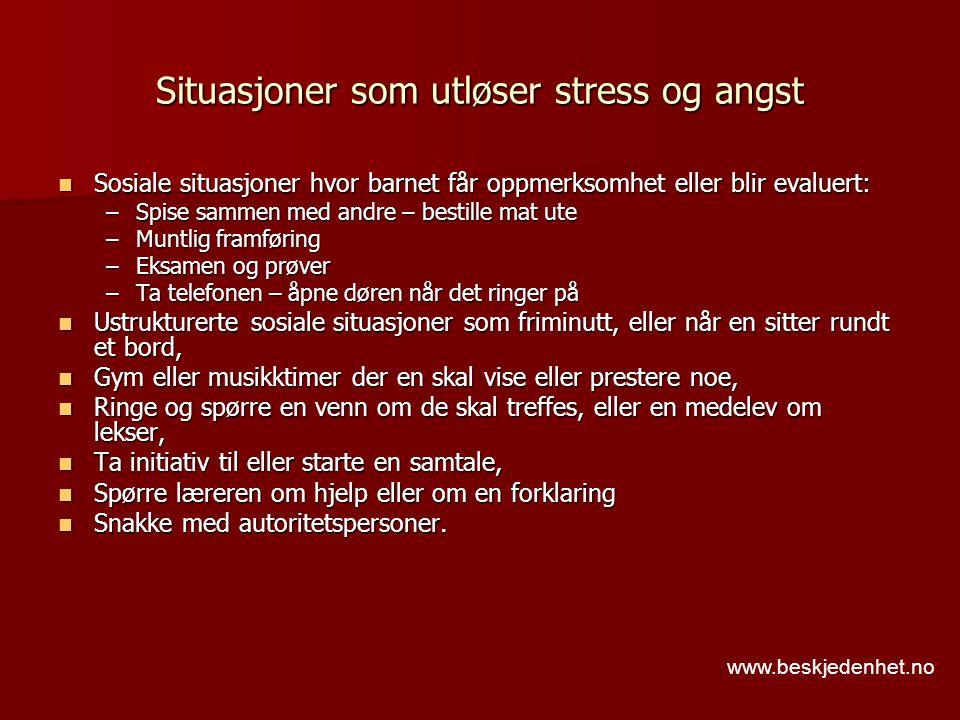 Situasjoner som utløser stress og angst