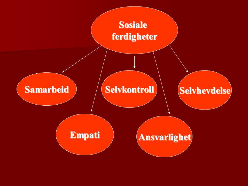 Sosiale ferdigheter Selvkontroll Selvhevdelse Samarbeid Empati Ansvarlighet