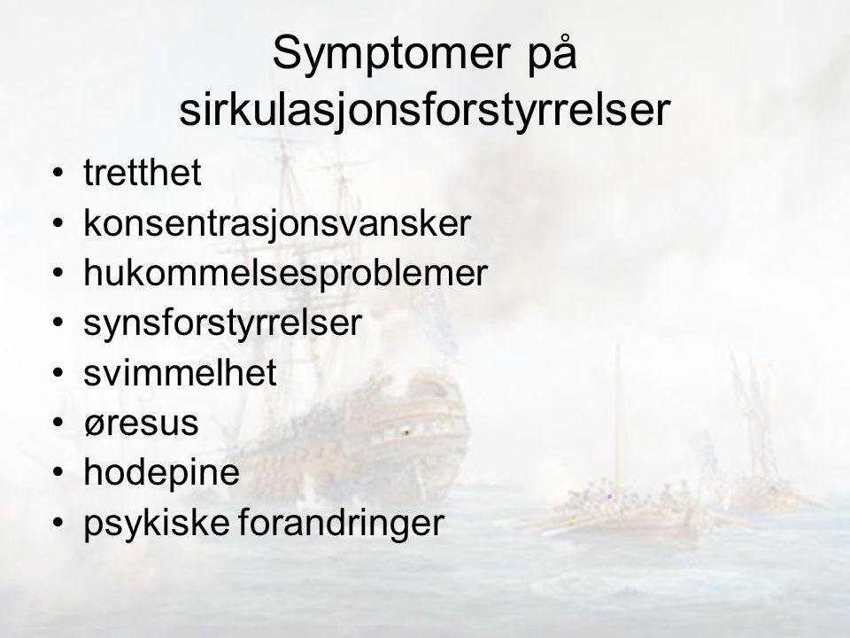 Symptomer på sirkulasjonsforstyrrelser