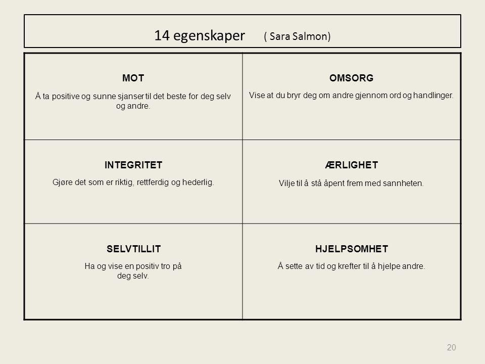 14 egenskaper ( Sara Salmon)
