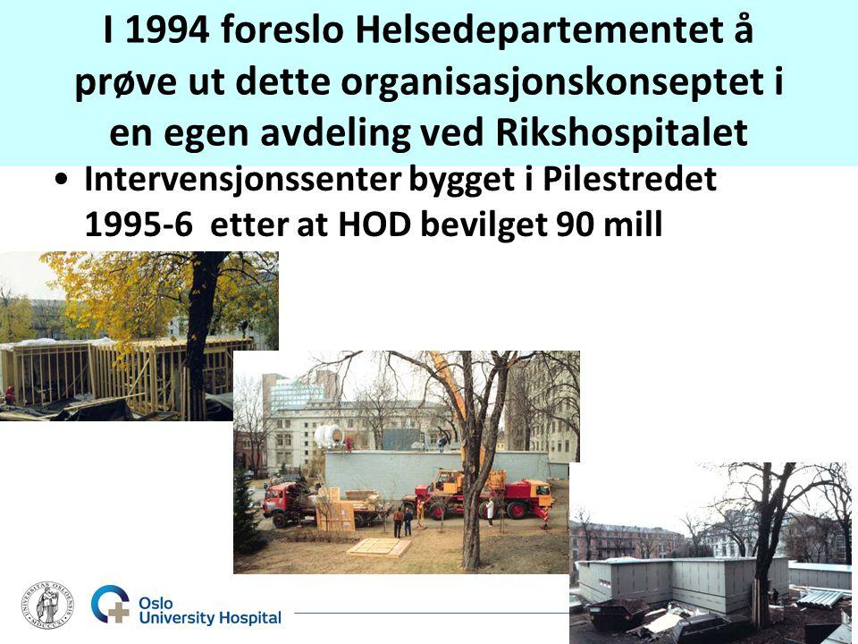 I 1994 foreslo Helsedepartementet å prøve ut dette organisasjonskonseptet i en egen avdeling ved Rikshospitalet