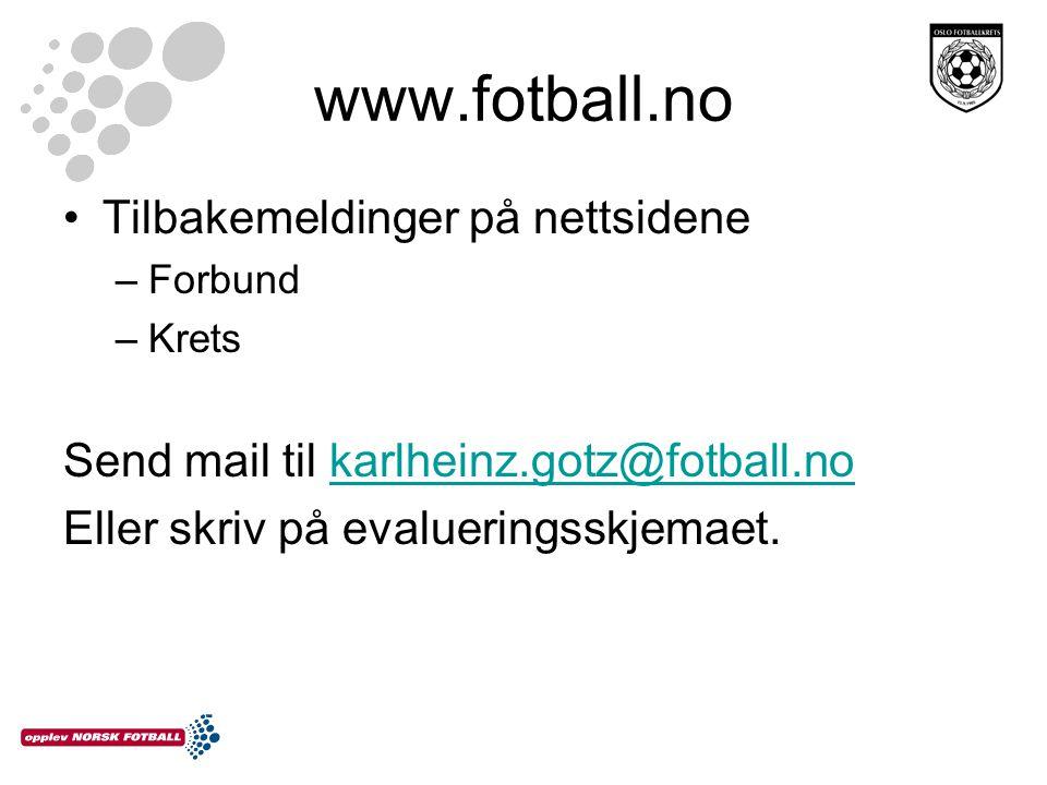 www.fotball.no Tilbakemeldinger på nettsidene