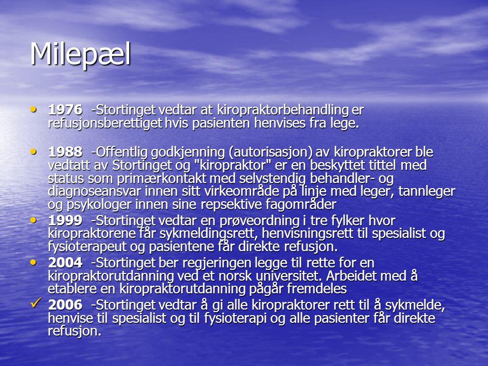 Milepæl 1976 -Stortinget vedtar at kiropraktorbehandling er refusjonsberettiget hvis pasienten henvises fra lege.