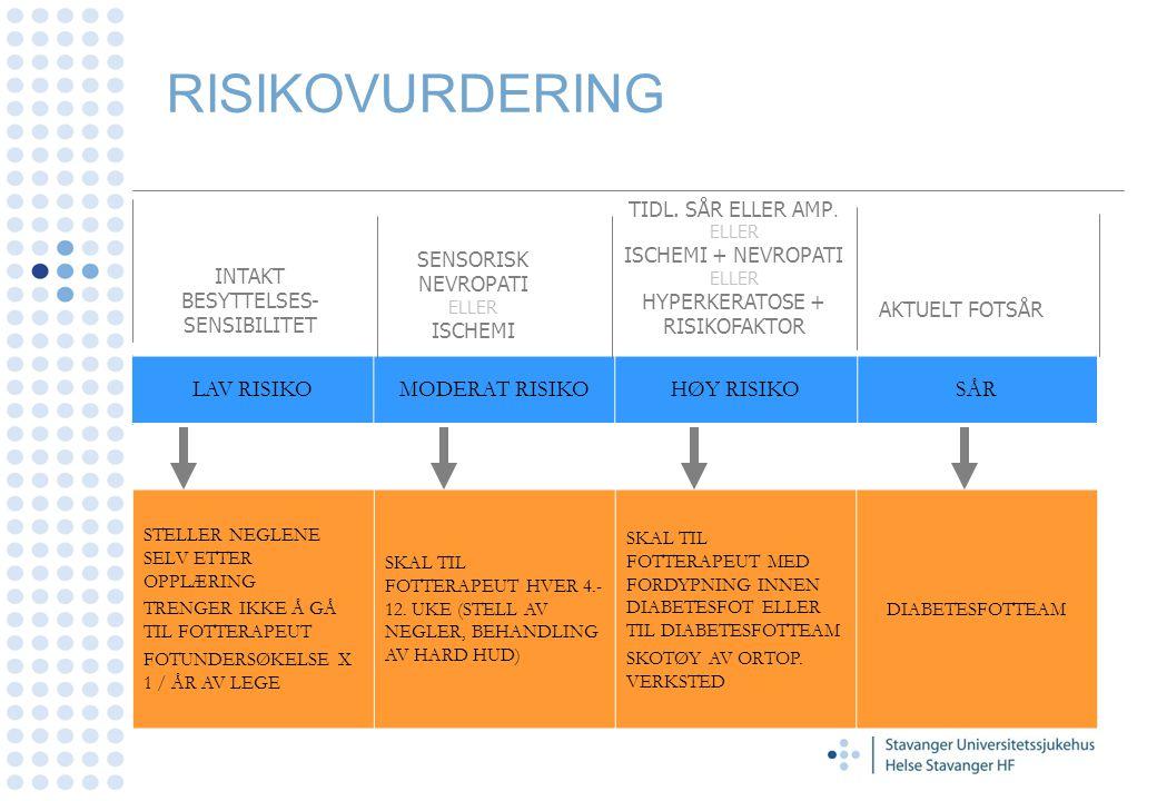 RISIKOVURDERING LAV RISIKO MODERAT RISIKO HØY RISIKO SÅR