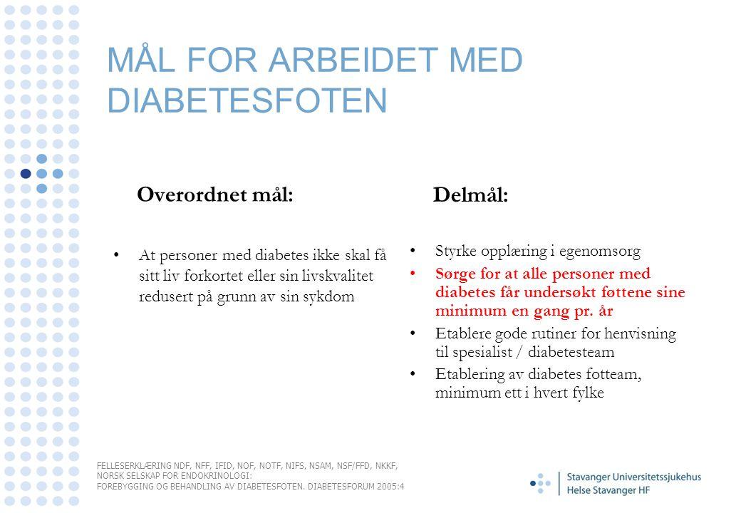 MÅL FOR ARBEIDET MED DIABETESFOTEN