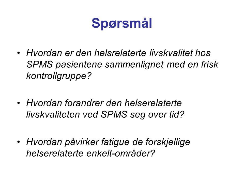 Spørsmål Hvordan er den helsrelaterte livskvalitet hos SPMS pasientene sammenlignet med en frisk kontrollgruppe