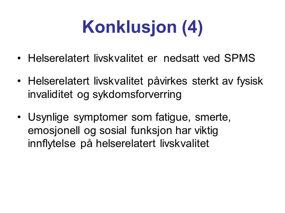 Konklusjon (4) Helserelatert livskvalitet er nedsatt ved SPMS
