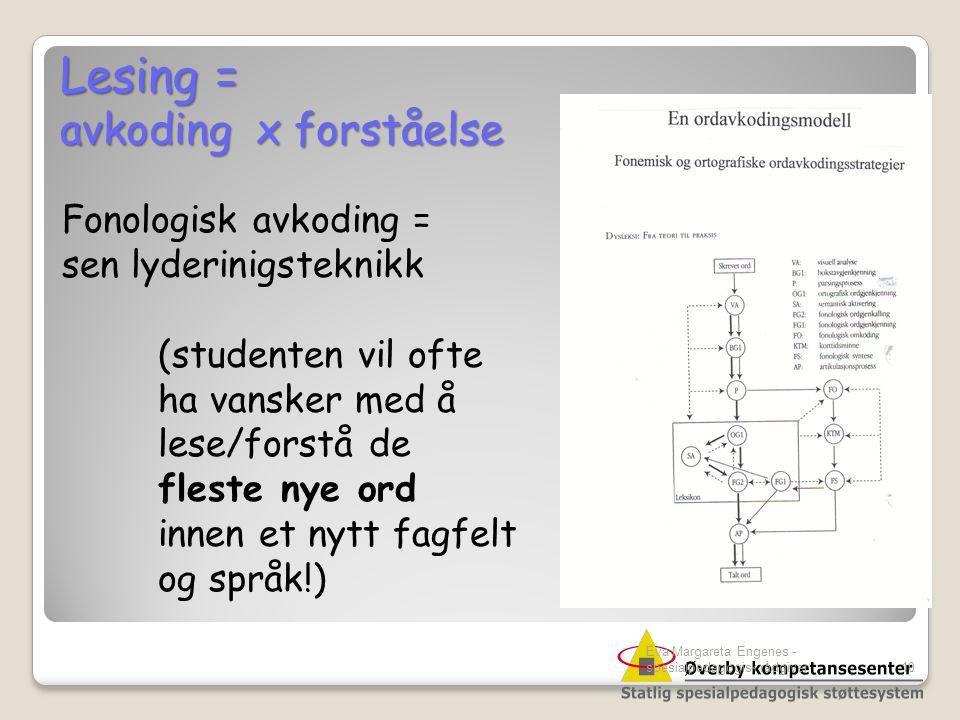 Lesing = avkoding x forståelse Fonologisk avkoding =