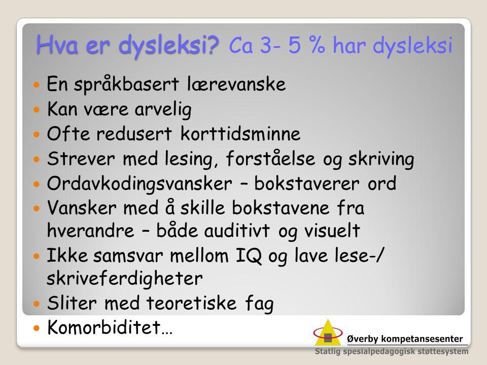 Hva er dysleksi Ca 3- 5 % har dysleksi