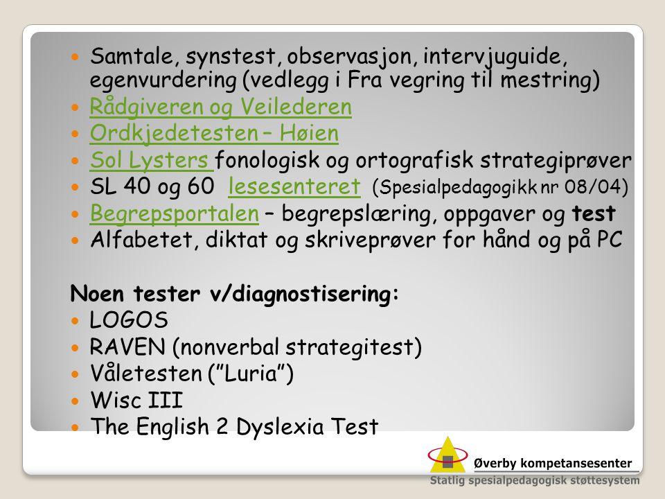 Samtale, synstest, observasjon, intervjuguide, egenvurdering (vedlegg i Fra vegring til mestring)