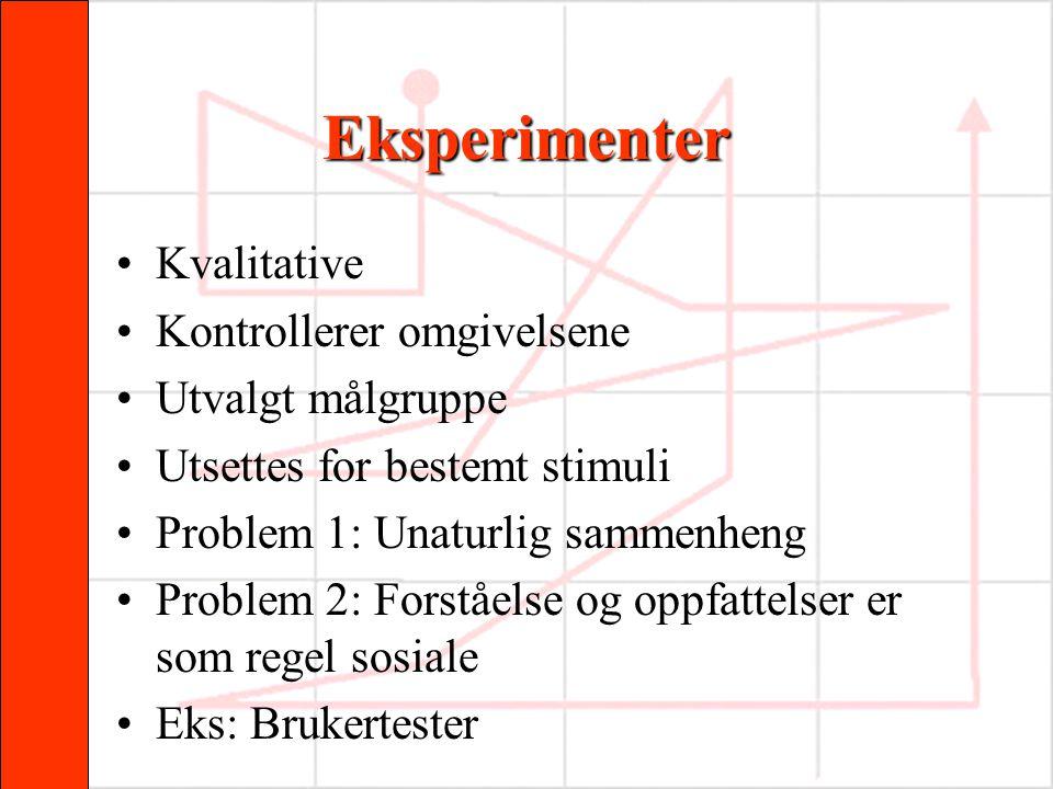Eksperimenter Kvalitative Kontrollerer omgivelsene Utvalgt målgruppe