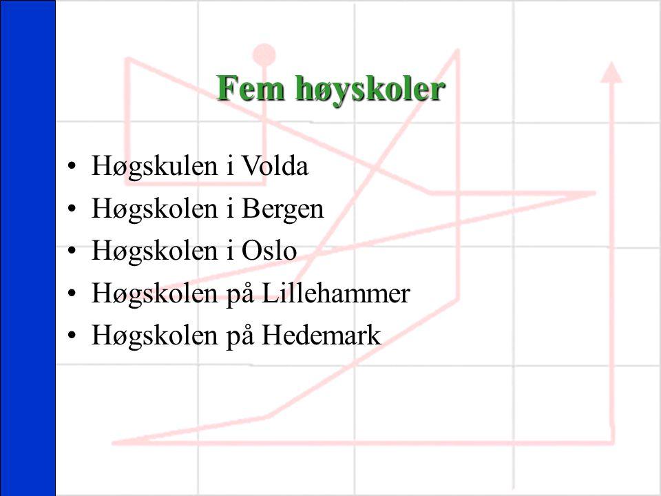 Fem høyskoler Høgskulen i Volda Høgskolen i Bergen Høgskolen i Oslo