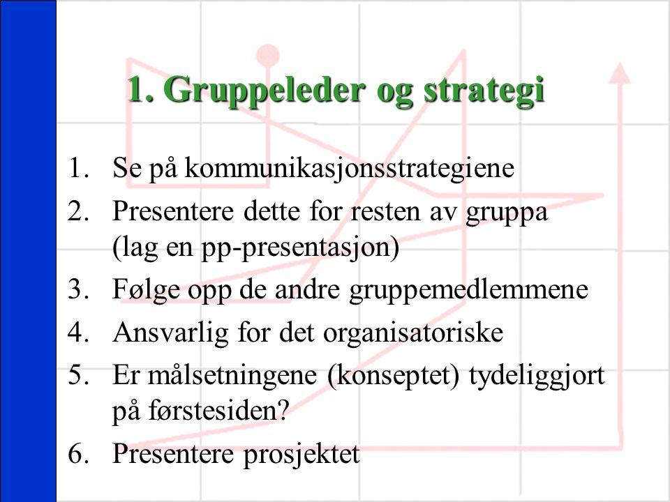 1. Gruppeleder og strategi