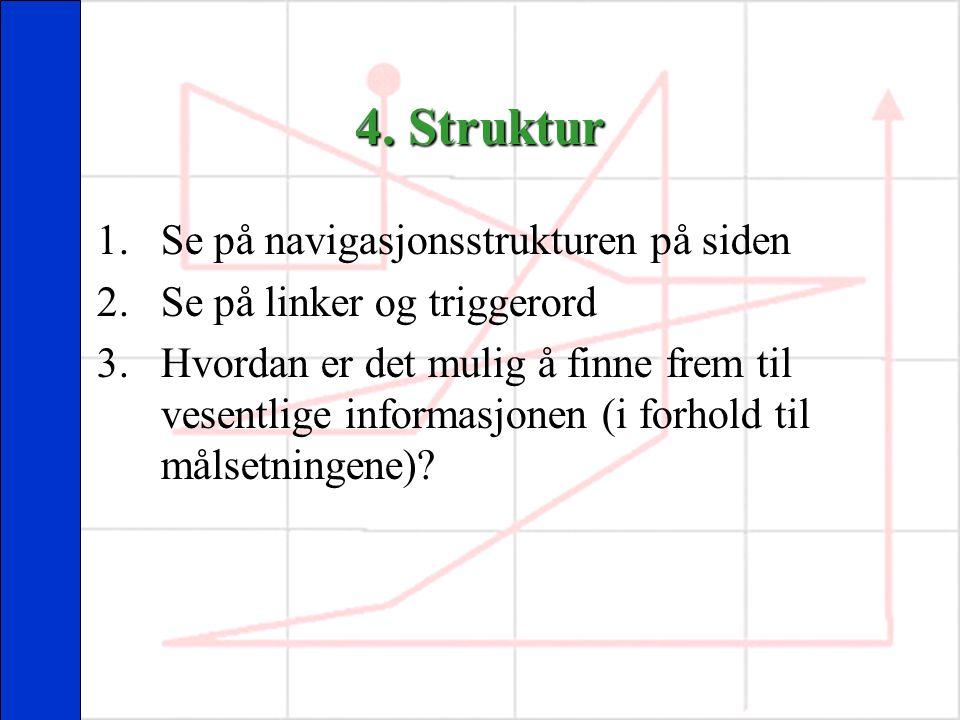 4. Struktur Se på navigasjonsstrukturen på siden