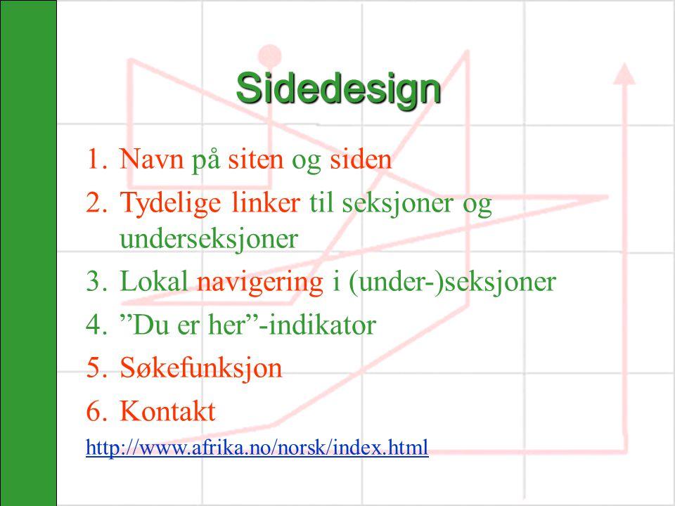 Sidedesign Navn på siten og siden