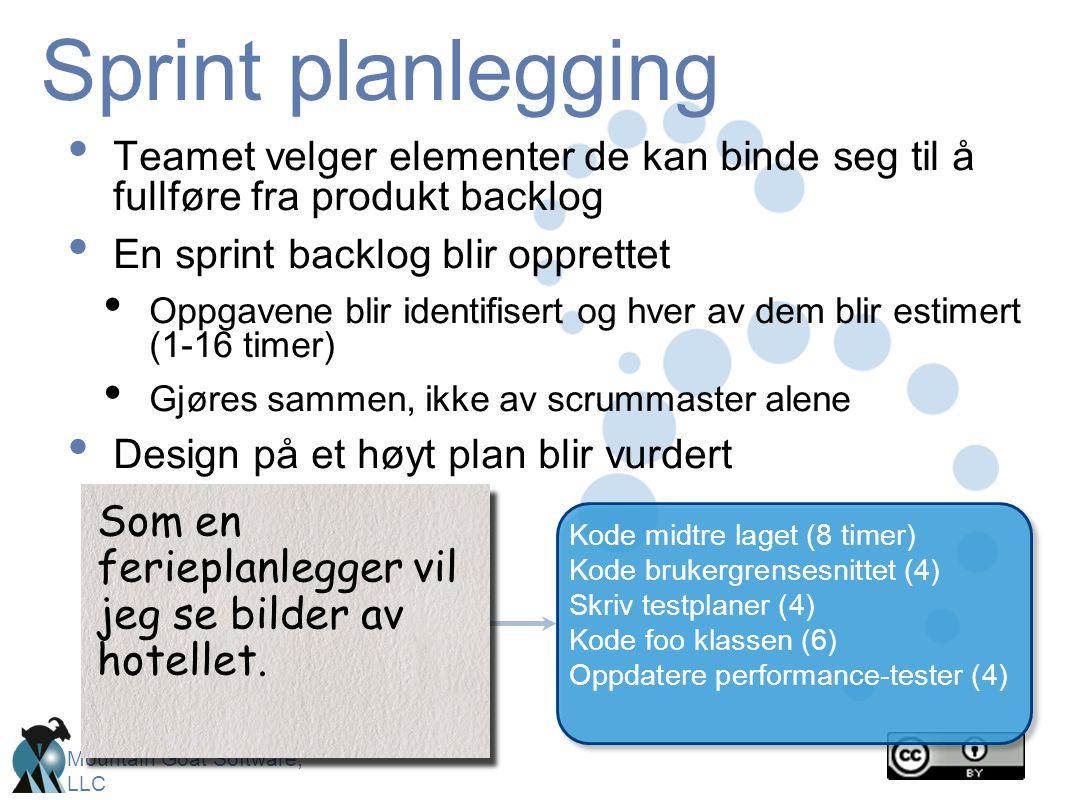 Sprint planlegging Teamet velger elementer de kan binde seg til å fullføre fra produkt backlog. En sprint backlog blir opprettet.