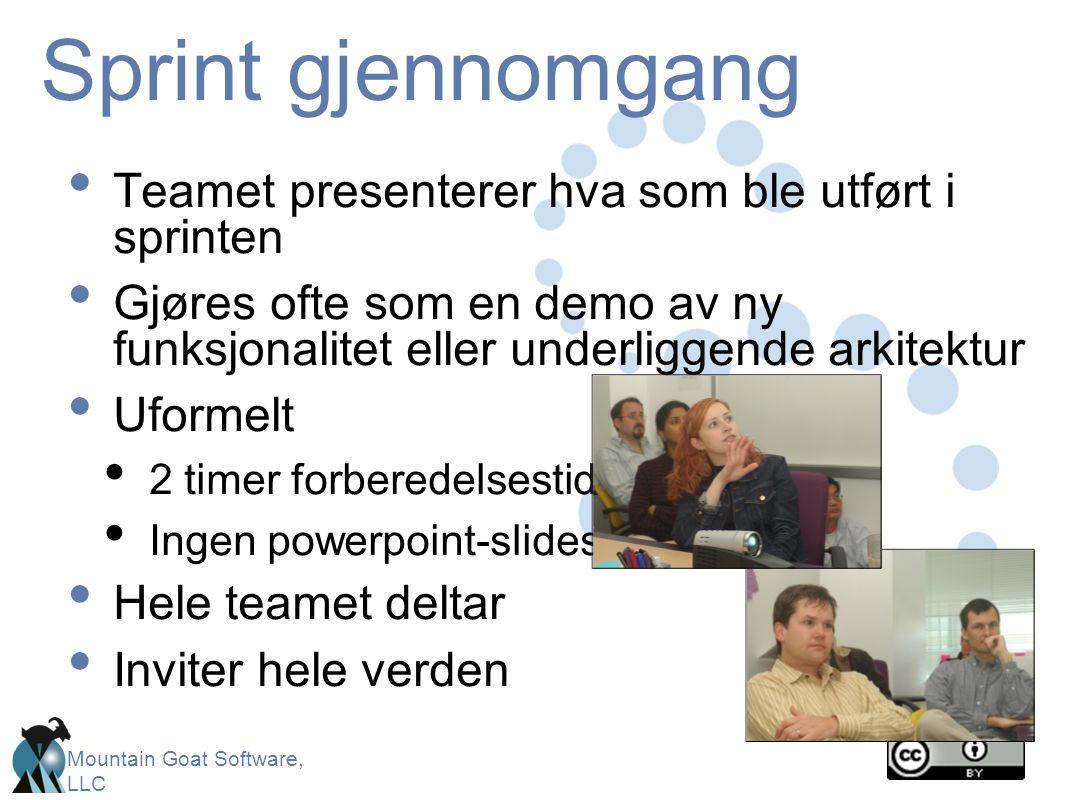 Sprint gjennomgang Teamet presenterer hva som ble utført i sprinten
