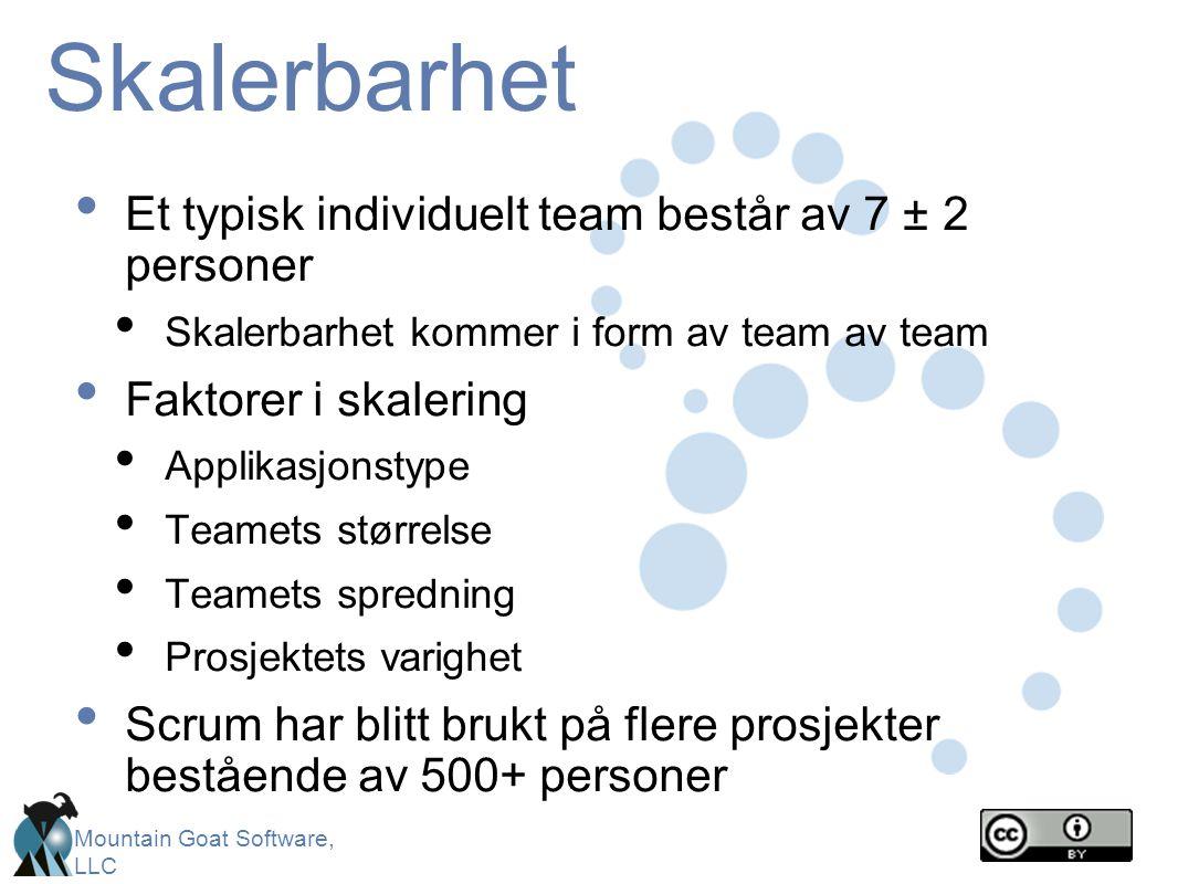 Skalerbarhet Et typisk individuelt team består av 7 ± 2 personer