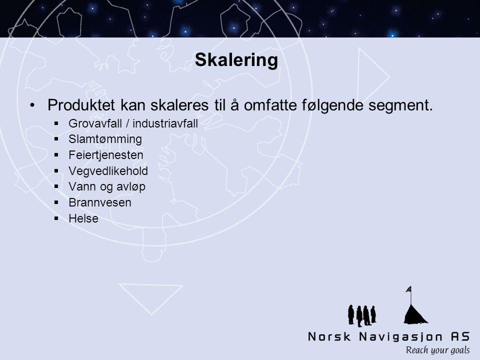 Skalering Produktet kan skaleres til å omfatte følgende segment.