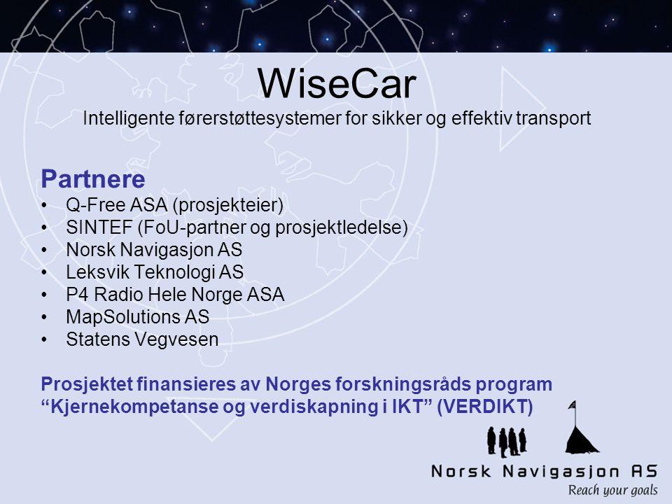WiseCar Intelligente førerstøttesystemer for sikker og effektiv transport
