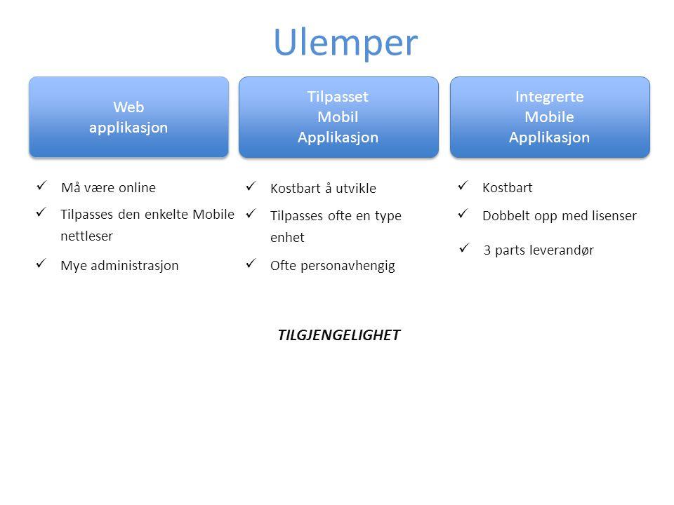 Ulemper Web applikasjon Tilpasset Mobil Applikasjon Integrerte Mobile