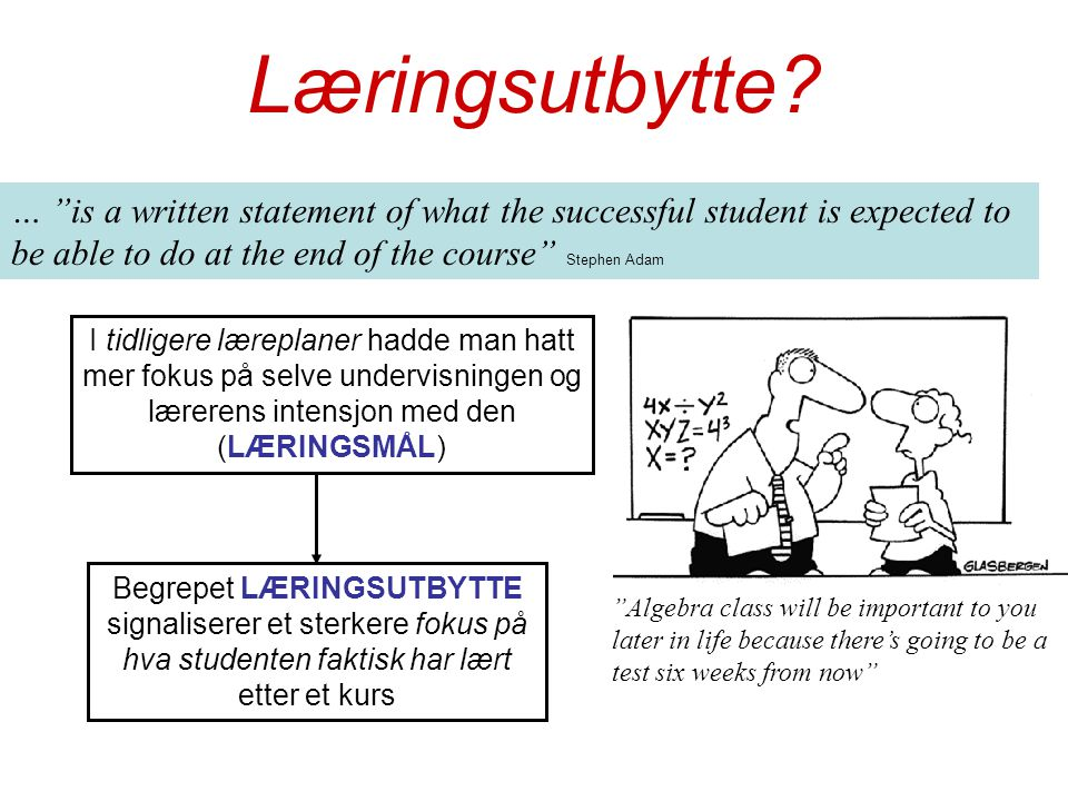 Læringsutbytte … is a written statement of what the successful student is expected to be able to do at the end of the course Stephen Adam.