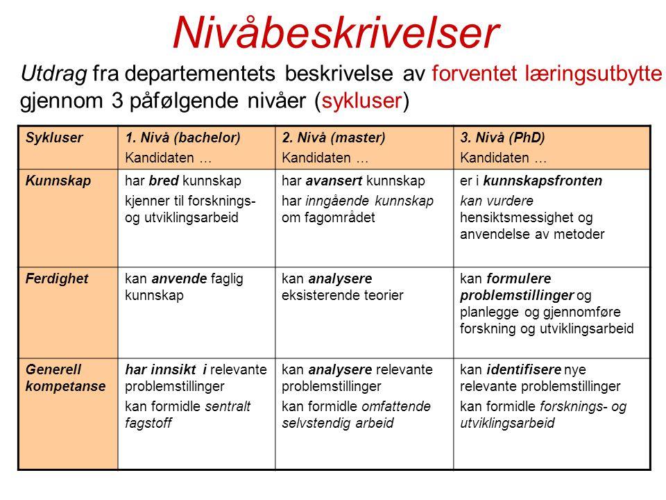 Nivåbeskrivelser Utdrag fra departementets beskrivelse av forventet læringsutbytte gjennom 3 påfølgende nivåer (sykluser)