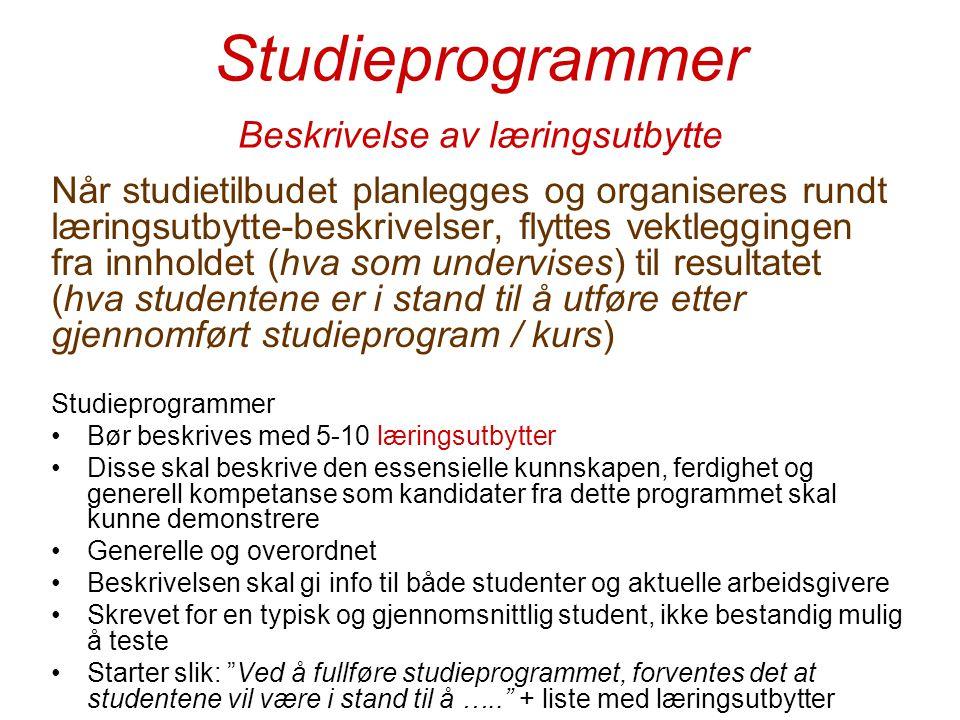 Studieprogrammer Beskrivelse av læringsutbytte