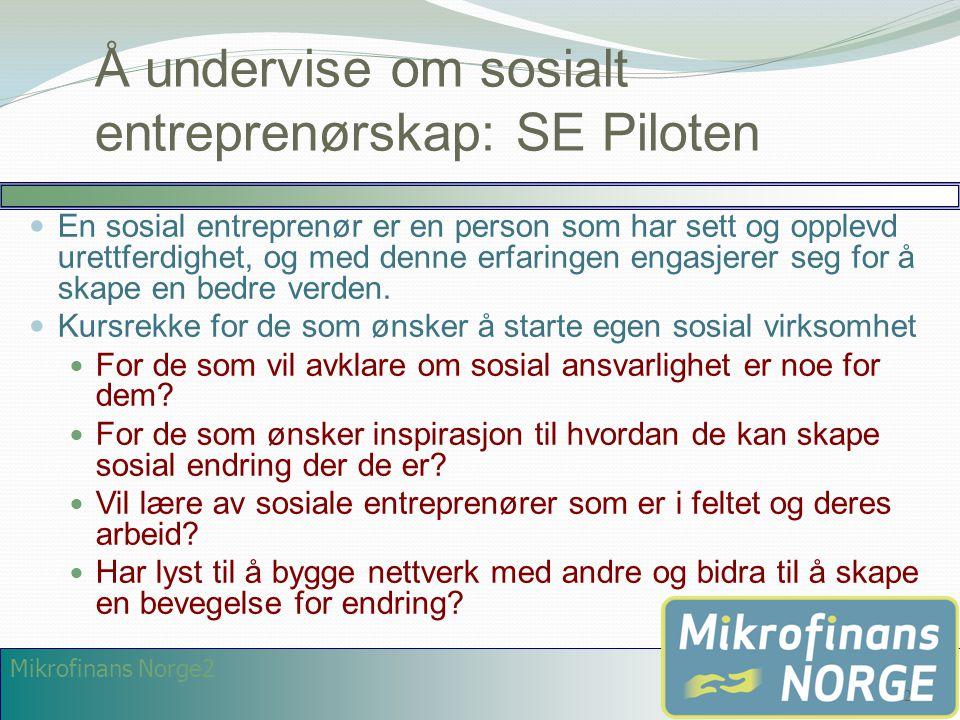Å undervise om sosialt entreprenørskap: SE Piloten