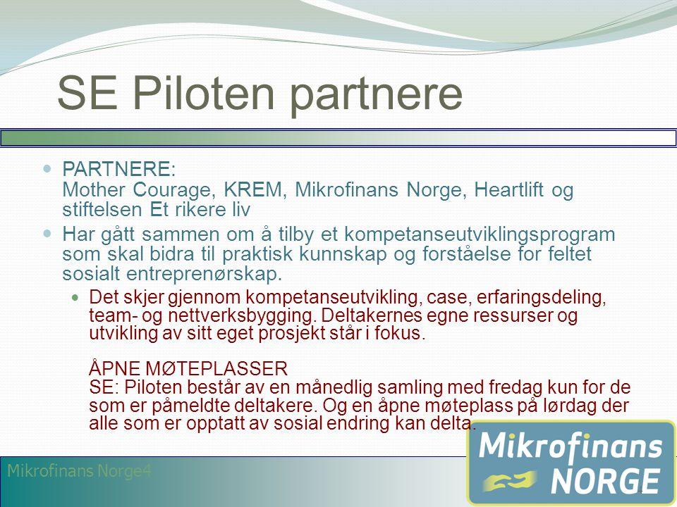 SE Piloten partnere PARTNERE: Mother Courage, KREM, Mikrofinans Norge, Heartlift og stiftelsen Et rikere liv.