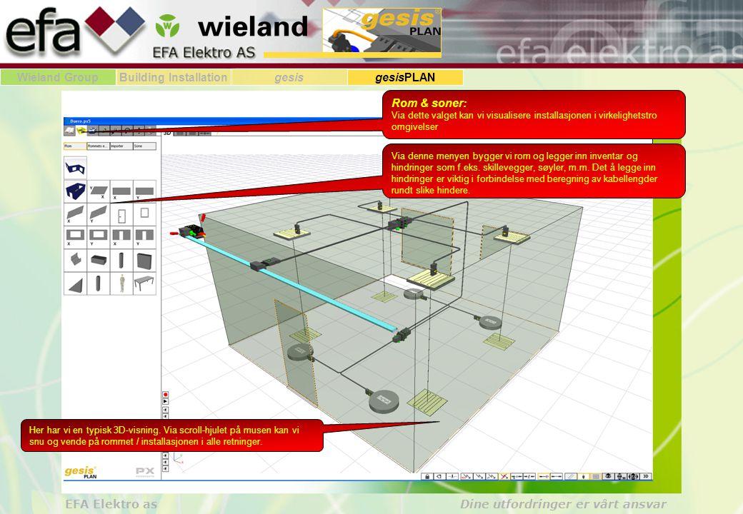Rom & soner: Via dette valget kan vi visualisere installasjonen i virkelighetstro omgivelser.
