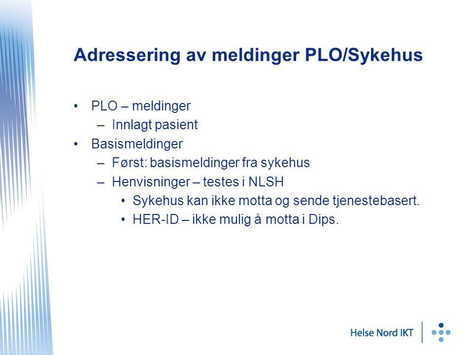Adressering av meldinger PLO/Sykehus