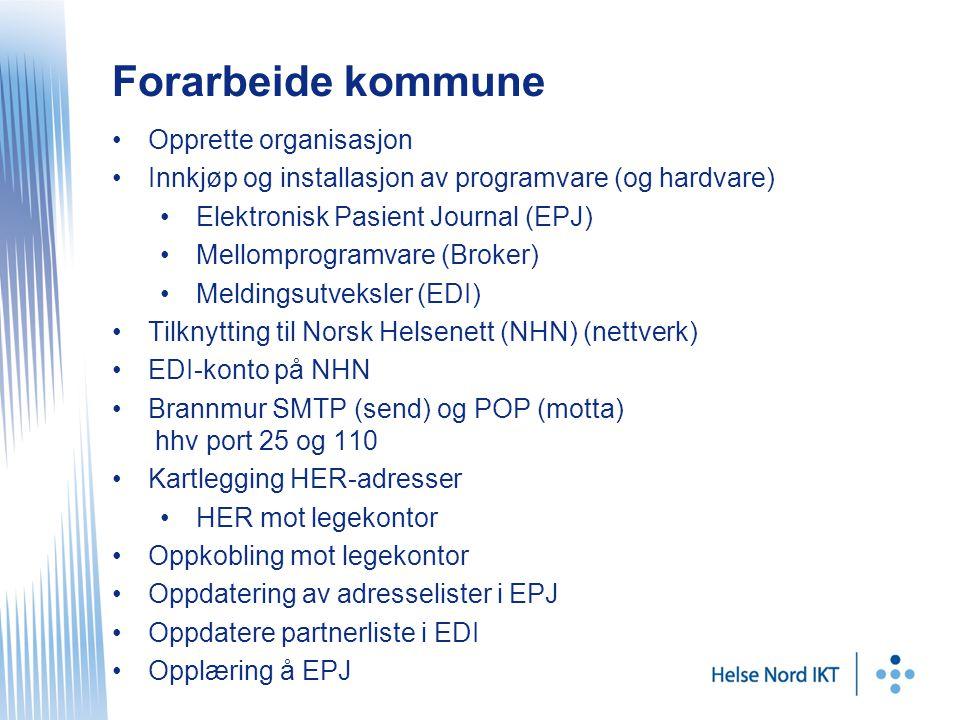 Forarbeide kommune Opprette organisasjon