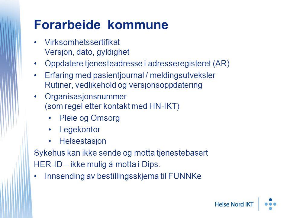 Forarbeide kommune Virksomhetssertifikat Versjon, dato, gyldighet