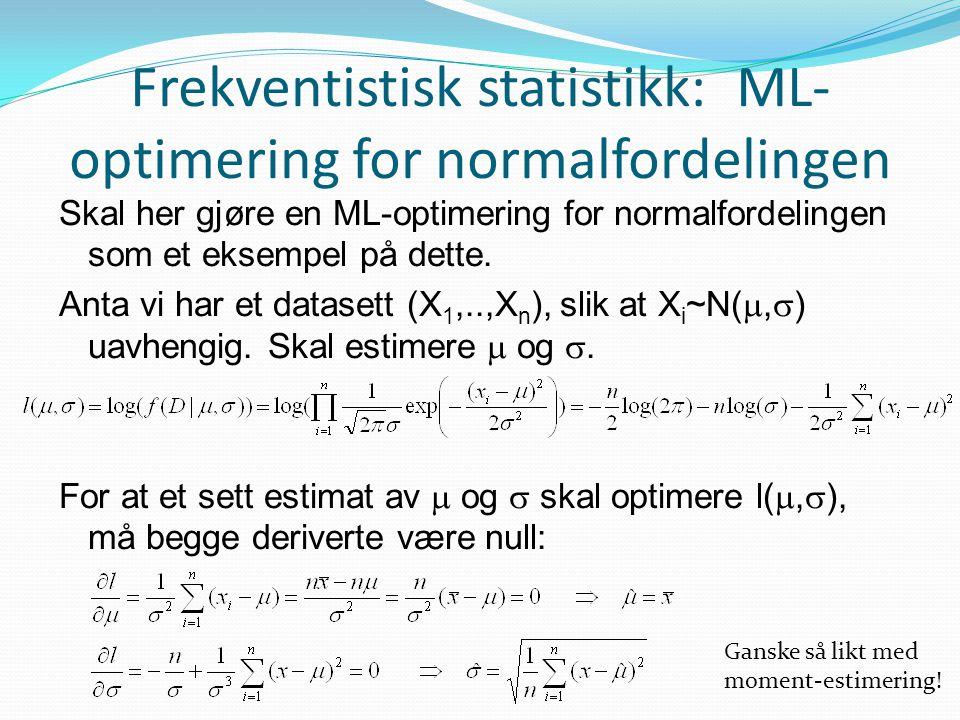 Frekventistisk statistikk: ML-optimering for normalfordelingen