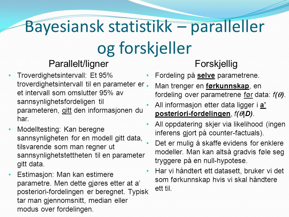Bayesiansk statistikk – paralleller og forskjeller