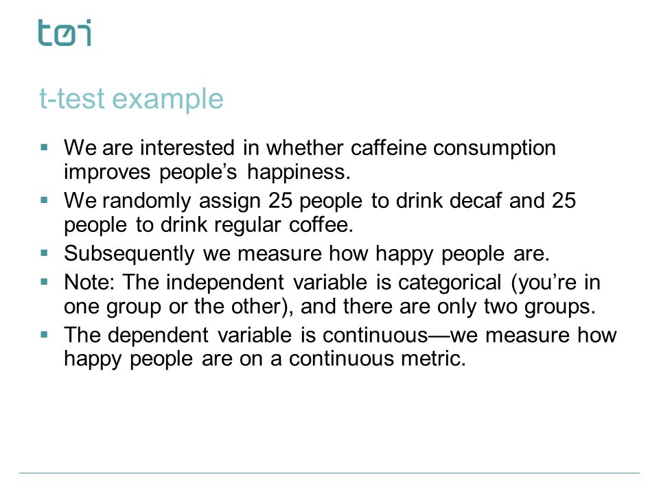 t-test example We are interested in whether caffeine consumption improves people's happiness.
