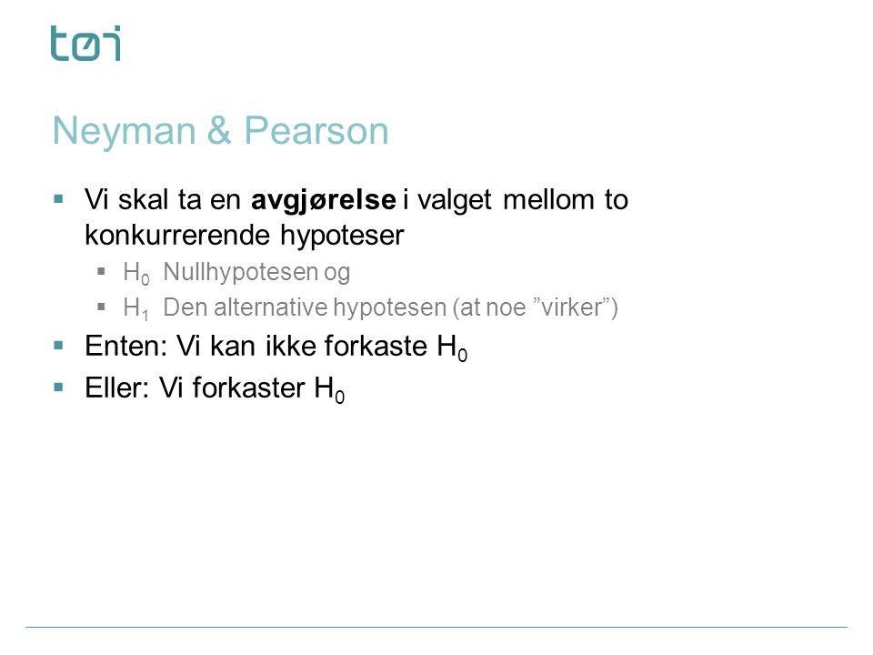 Neyman & Pearson Vi skal ta en avgjørelse i valget mellom to konkurrerende hypoteser. H0 Nullhypotesen og.