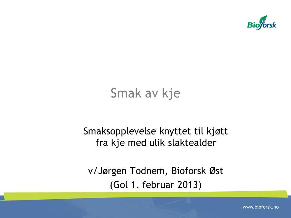 Smak av kje Smaksopplevelse knyttet til kjøtt fra kje med ulik slaktealder. v/Jørgen Todnem, Bioforsk Øst.