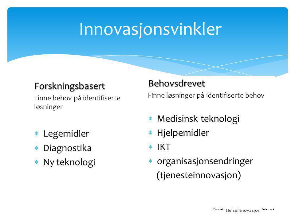 Innovasjonsvinkler Behovsdrevet Forskningsbasert Medisinsk teknologi