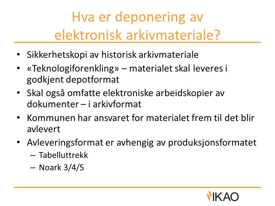 Hva er deponering av elektronisk arkivmateriale