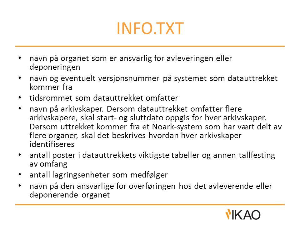 INFO.TXT navn på organet som er ansvarlig for avleveringen eller deponeringen.