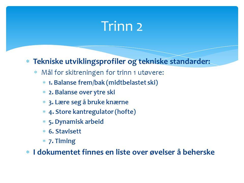 Trinn 2 Tekniske utviklingsprofiler og tekniske standarder: