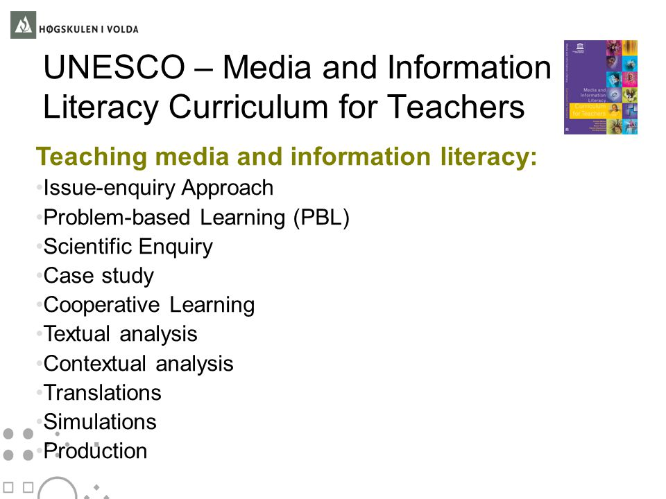 UNESCO – Media and Information Literacy Curriculum for Teachers