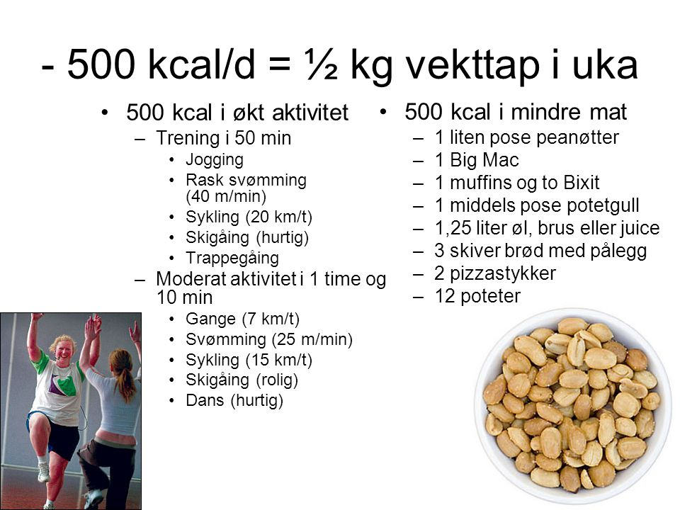 - 500 kcal/d = ½ kg vekttap i uka
