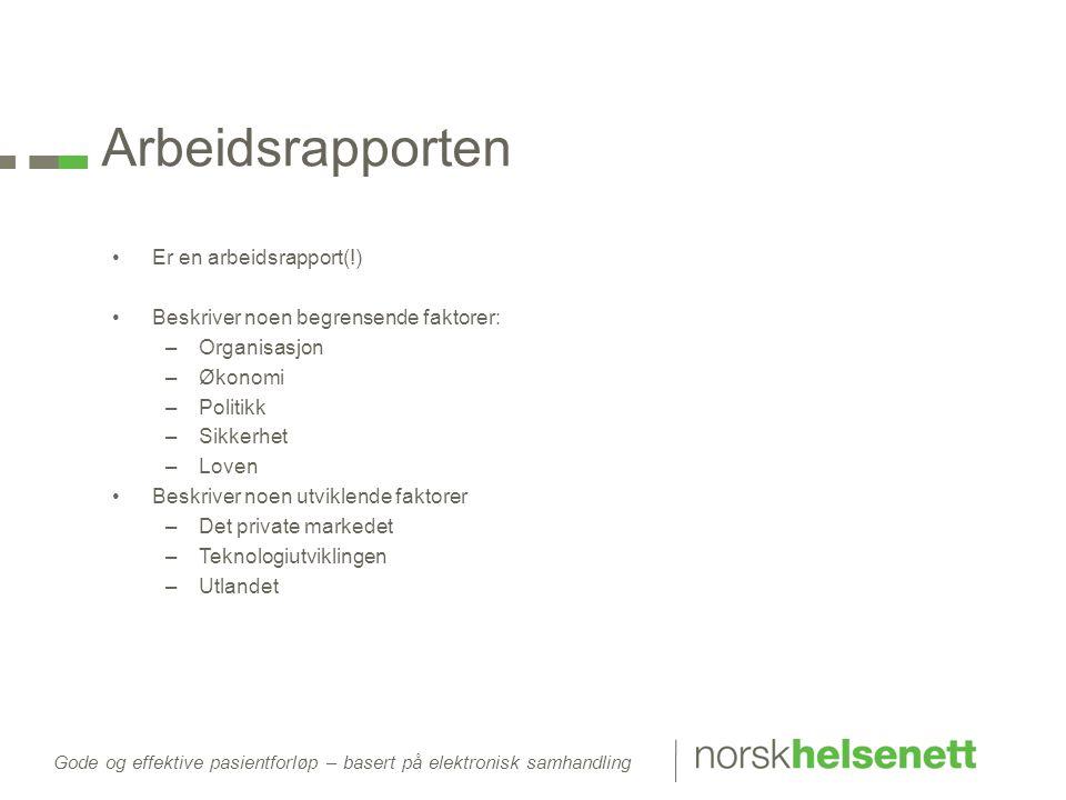Arbeidsrapporten Er en arbeidsrapport(!)