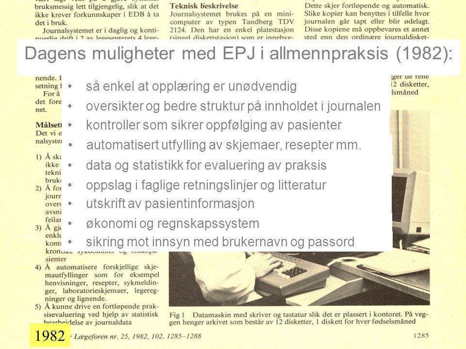 Dagens muligheter med EPJ i allmennpraksis (1982):