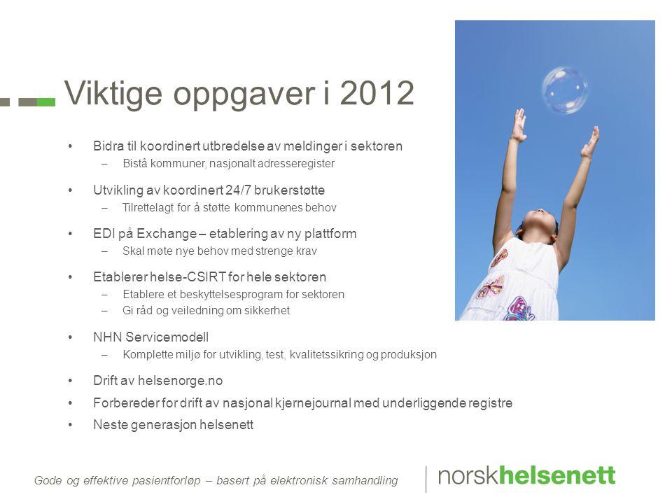 Viktige oppgaver i 2012 Bidra til koordinert utbredelse av meldinger i sektoren. Bistå kommuner, nasjonalt adresseregister.