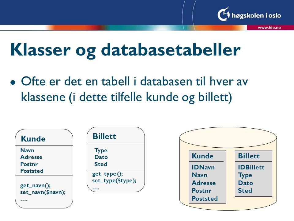 Klasser og databasetabeller