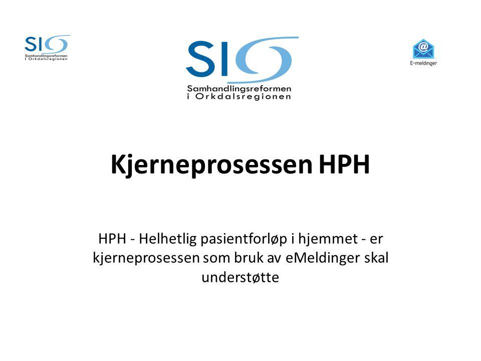 Kjerneprosessen HPH HPH - Helhetlig pasientforløp i hjemmet - er kjerneprosessen som bruk av eMeldinger skal understøtte.